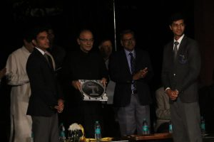 Union Minister for Finance and Corporate Affairs, Mr. Arun Jaitley inaugurating School Yearbook